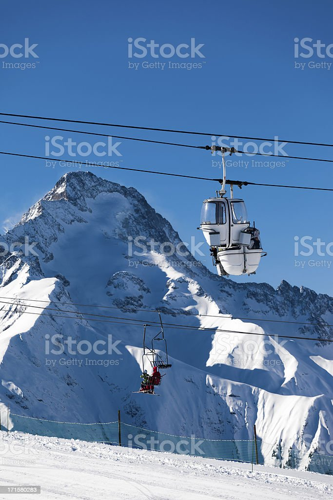 Cable car  in Alps stock photo