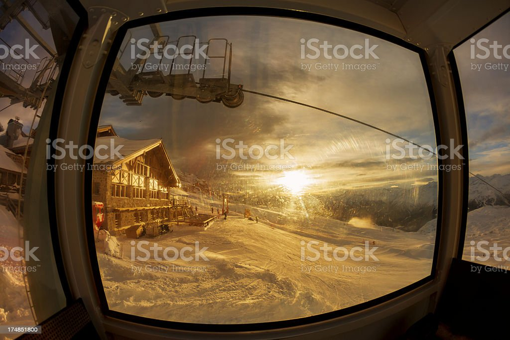 Cable car  in Alps royalty-free stock photo