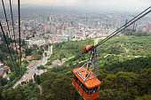 Bogota's cable car with a view of downtown. Colombia