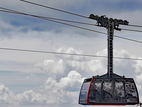 cable car in Chamonix Mont-Blanc France in the Border Area to Switzerland Europe