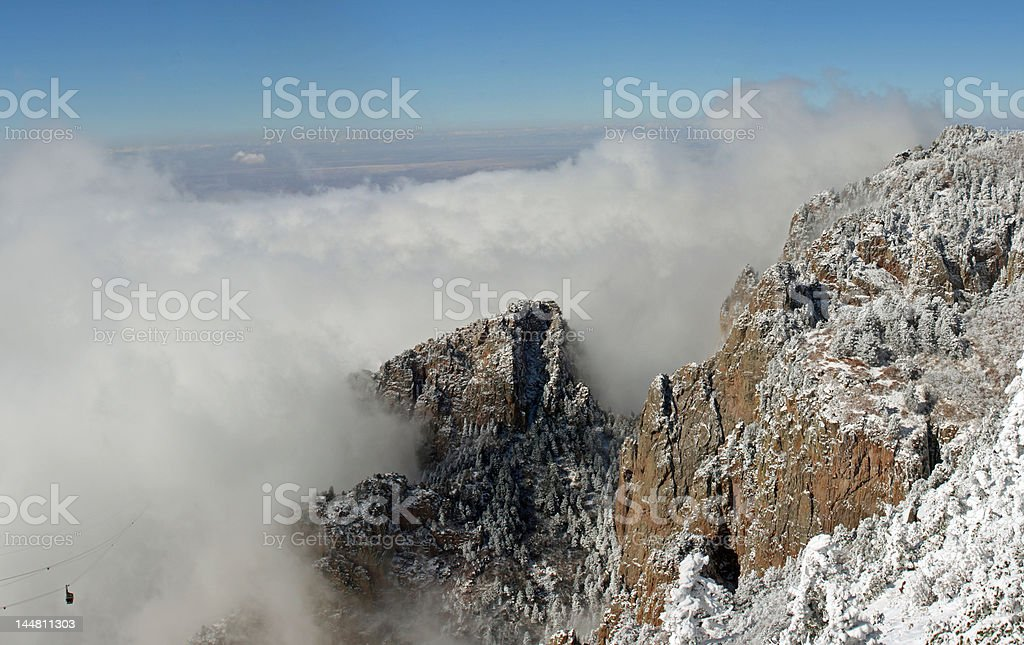 Cable car in clouds panorama one stock photo