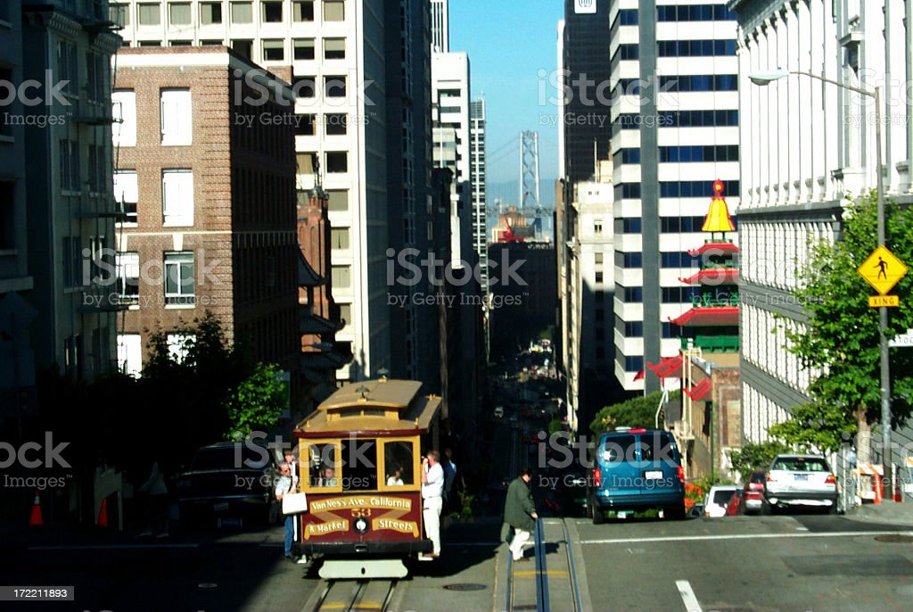 Cable Car in Downtown San Francisco royalty-free stock photo