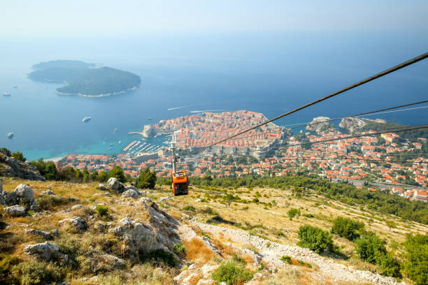 Cable car in Dubrovnik stock photo