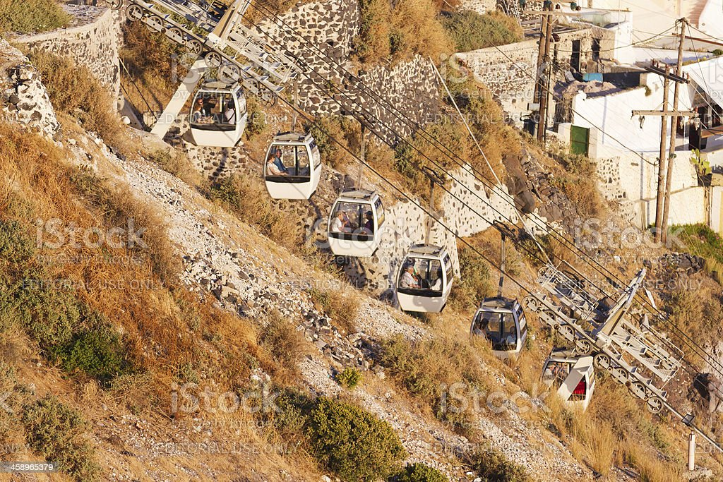 Cable car in Fira, Santorini royalty-free stock photo