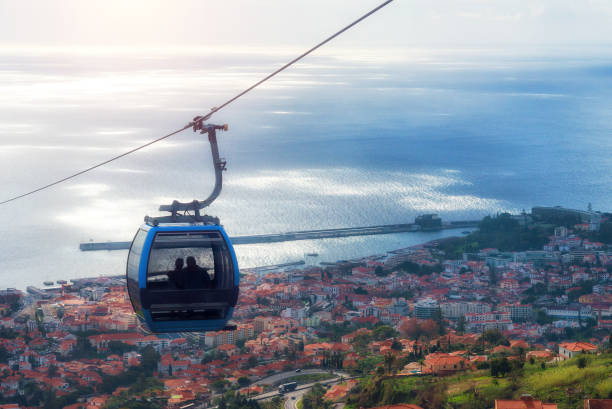 cable car in funchal, madeira - view to the harbor - funchal imagens e fotografias de stock