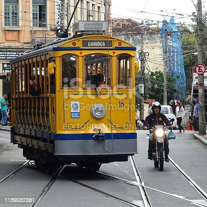 Yellow Cable Car on a sunny day in the streets of Santa Teresa in Rio de Janeiro, Brazil