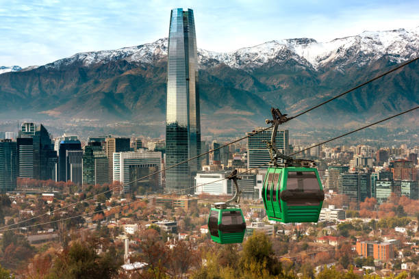 Cable car in San Cristobal hill, overlooking a panoramic view of Santiago stock photo