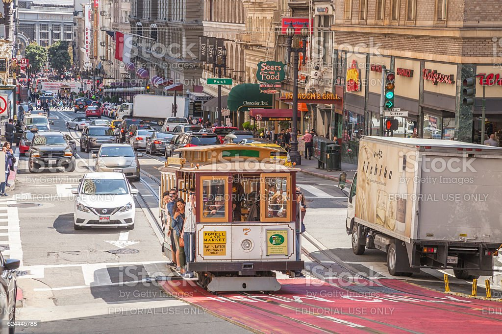 Cable Car in San Francisco downtown stock photo