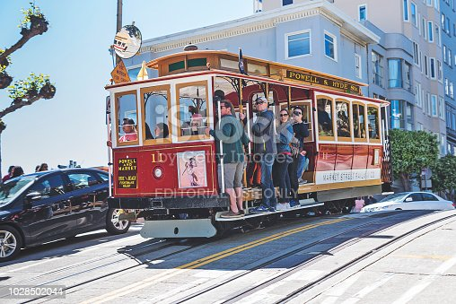 Passenger Enjoying a Ride in a Cable Car, which is the Oldest Mechanical Public Transport in San Francisco and a Symbol of the City.