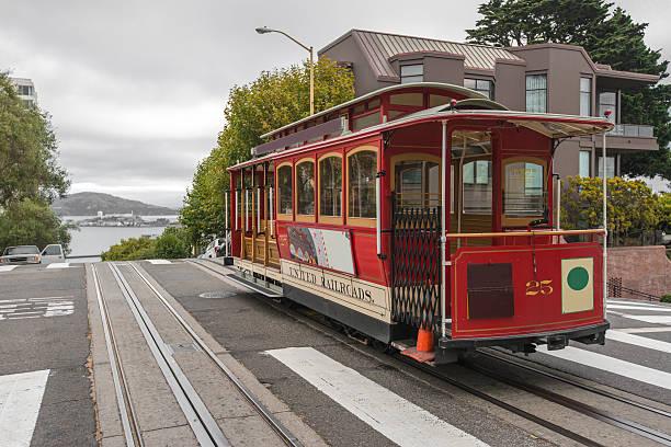 cable car in san francisco - spårvagn bildbanksfoton och bilder