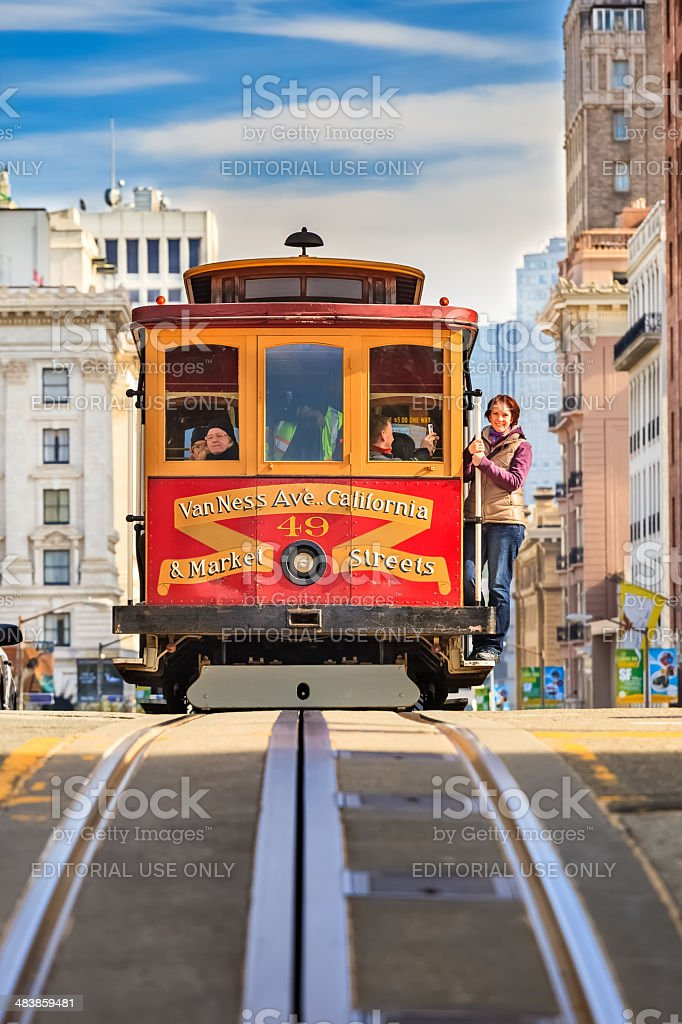 Cable car in San Francisco stock photo