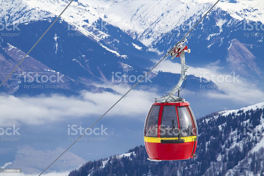 Cable Car in Ski Resort stock photo