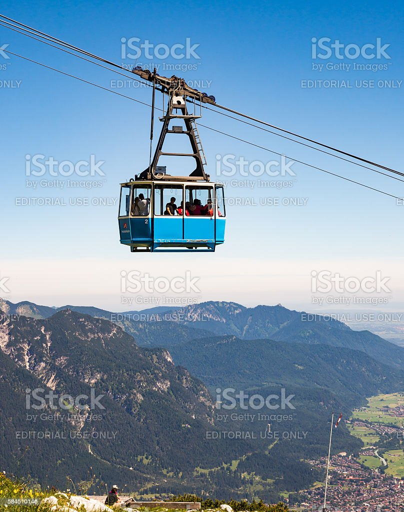 Cable car in the alps of Bavaria stock photo