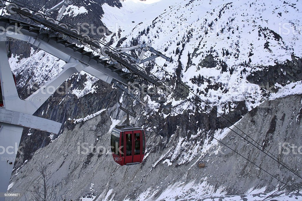 cable car in the alps royalty-free stock photo