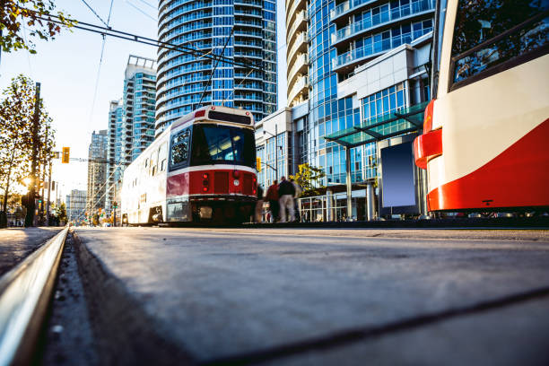 cable car in toronto city downtown - toronto streetcar stock photos and pictures