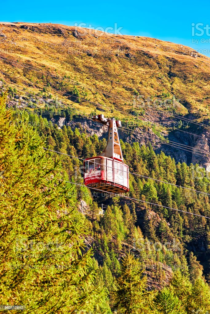 Cable car in Zermatt highland Swiss CH royalty-free stock photo