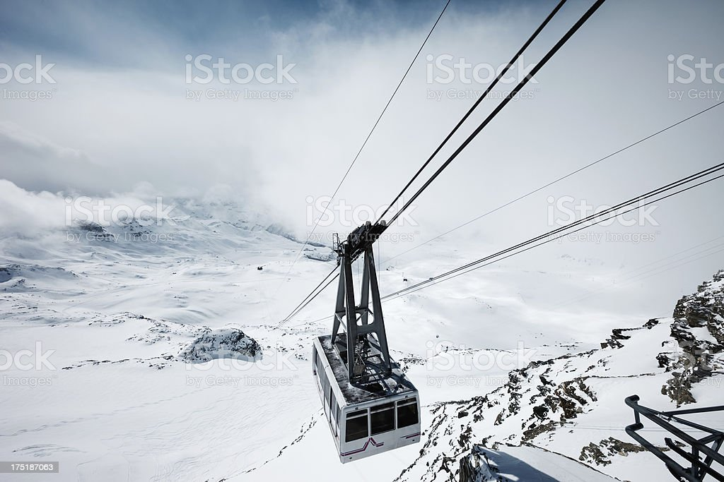 Cable car  in Zermatt ski area, Matterhorn stock photo