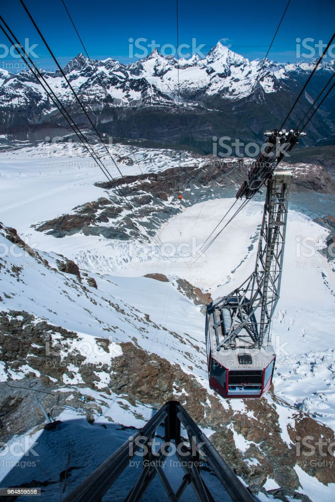 Cable car in Zermatt to the Matterhorn royalty-free stock photo