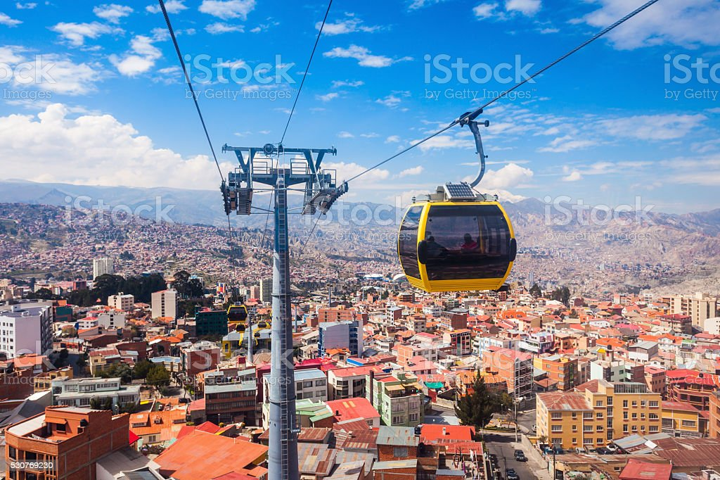 Cable car, LaPaz Mi Teleferico is an aerial cable car urban transit system in the city of La Paz, Bolivia. Aerial View Stock Photo