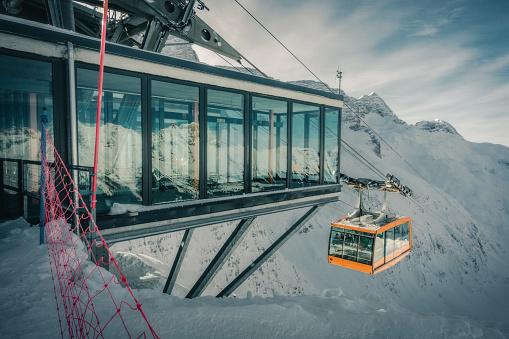 Cable car lift in ski resort