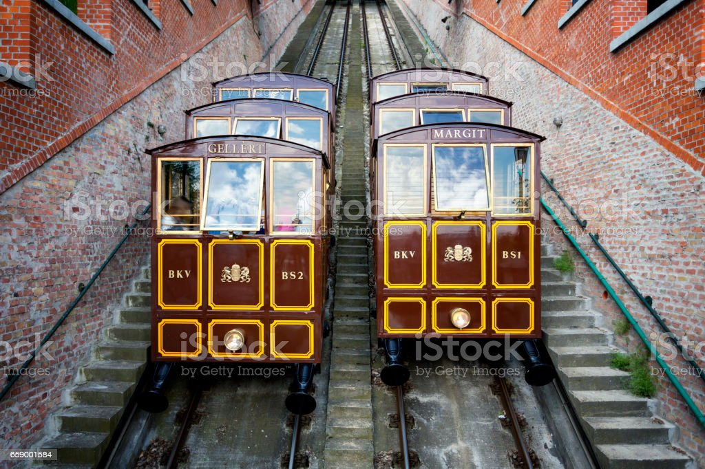 Cable car of Castle Hill in Budapest stock photo