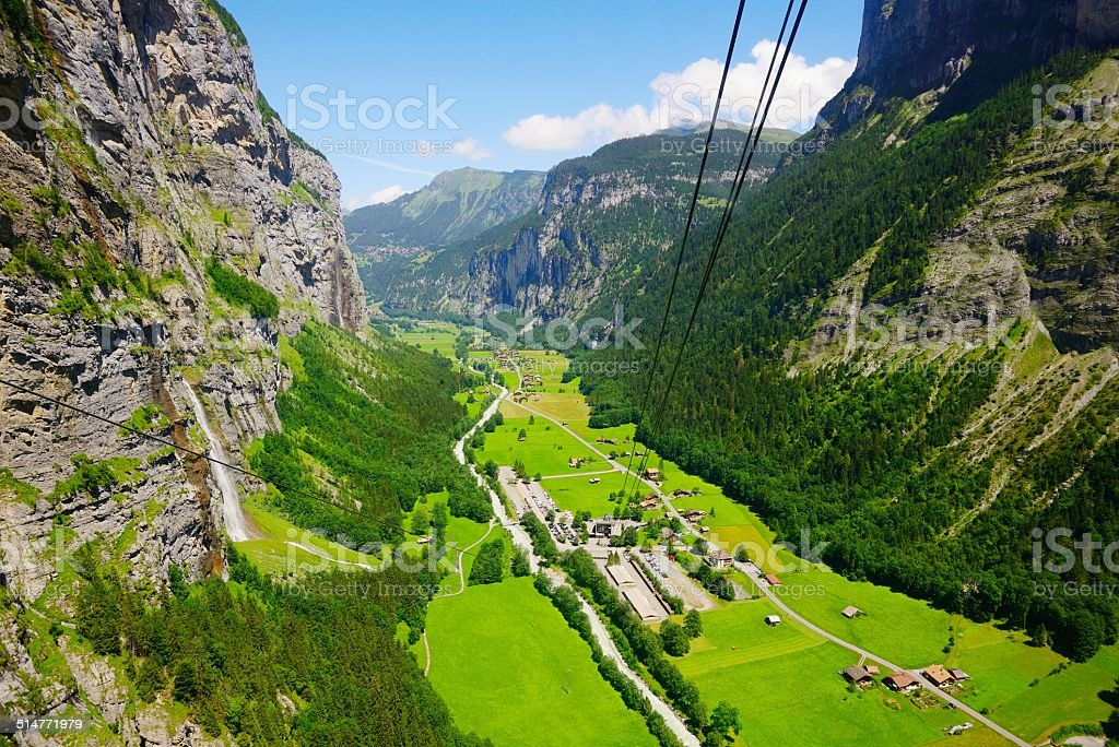 cable car of the Jungfrau scenic area stock photo