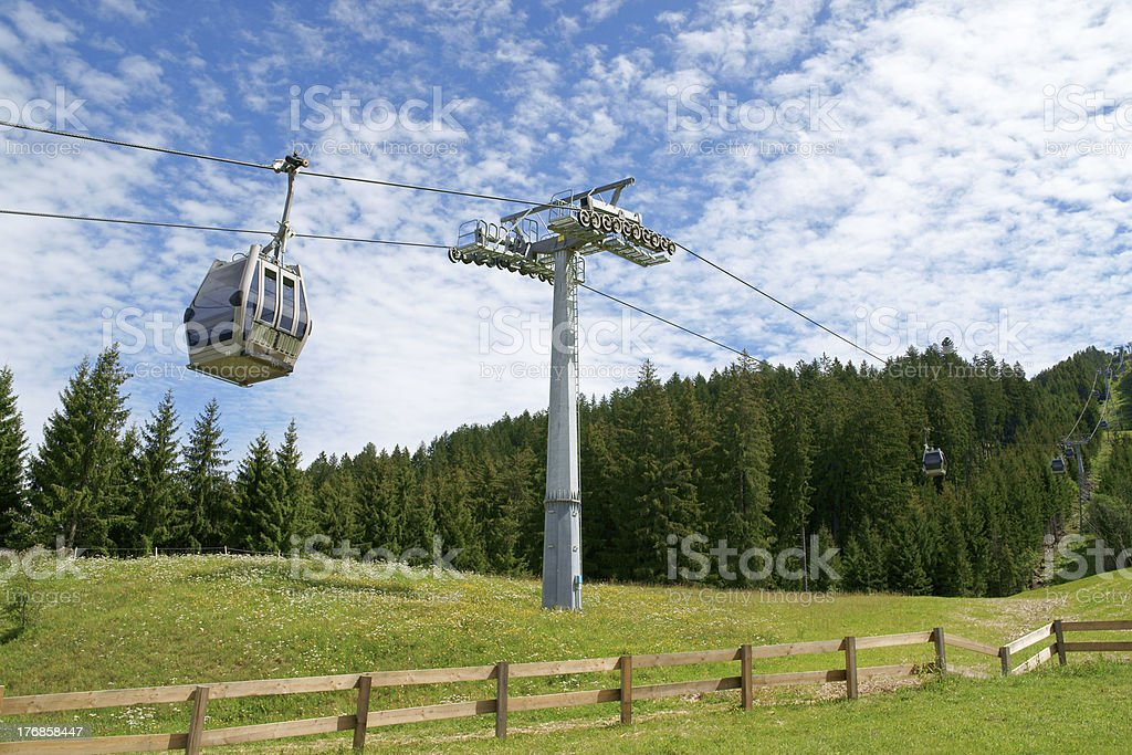Cable car on cableway royalty-free stock photo