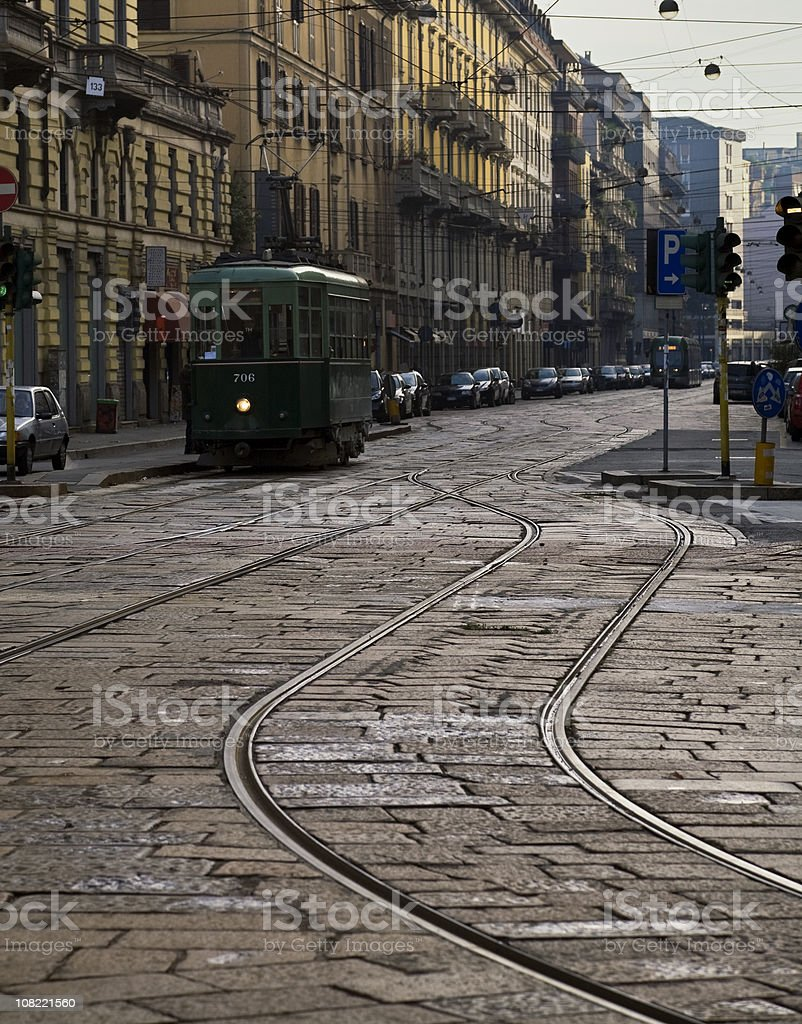 Cable Car on Cobblestone Milan Street. Color Image royalty-free stock photo