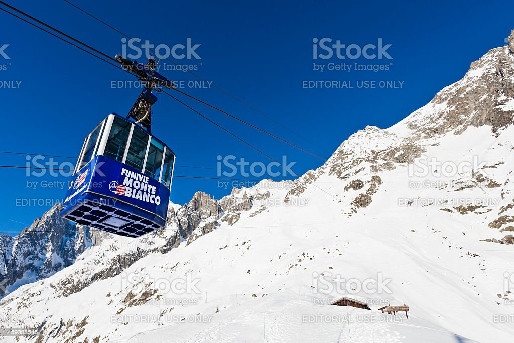 Cable Car on Monte Bianco stock photo