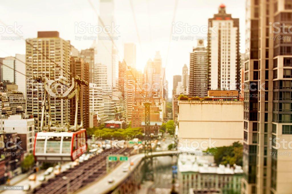 Cable car on Queensboro Bridge, New York City stock photo