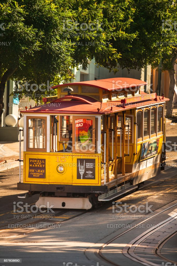 Cable car on the street in USA California San Francisco stock photo