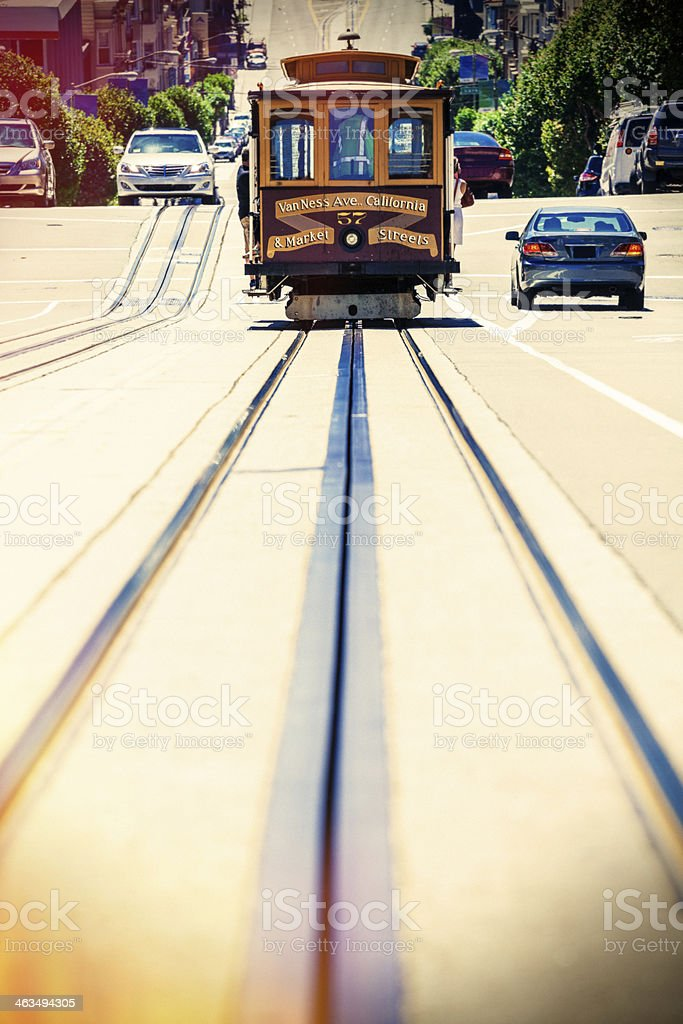 Cable Car on the Street of San Francisco, California, stock photo