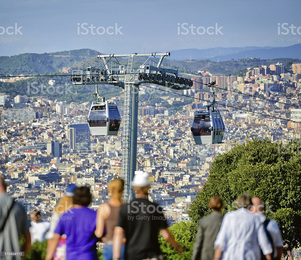 Cable Car Over Barcelona, Spain royalty-free stock photo