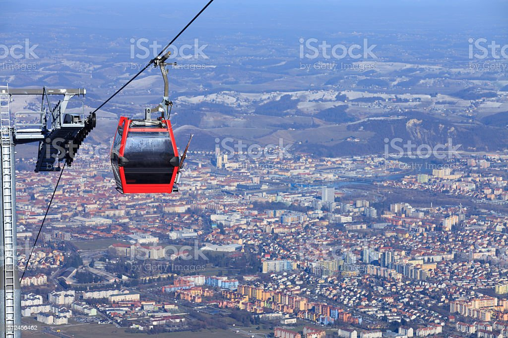 Cable car over Maribor stock photo