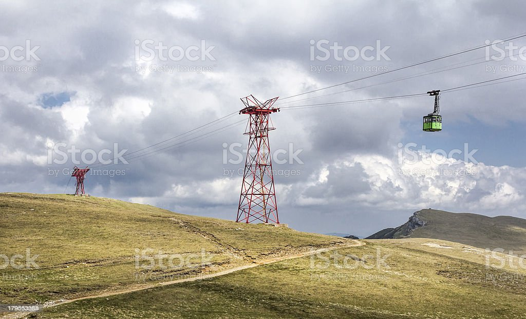 Cable car over the mountains royalty-free stock photo