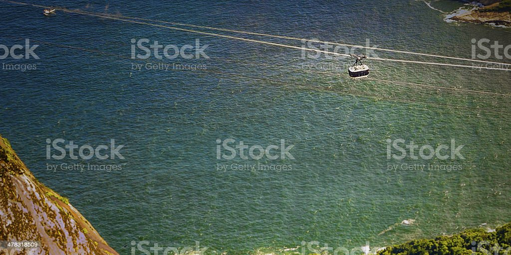 Cable car over the ocean royalty-free stock photo