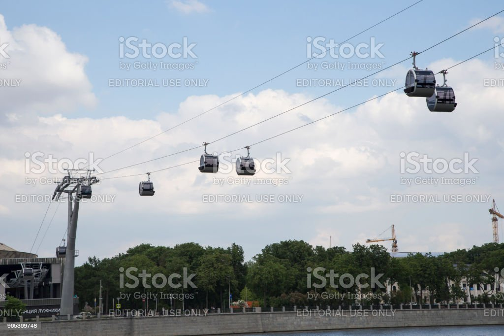 Cable car (ropeway, Cableway), passes over the Moskva River, connects observation deck on Vorobyovy Gory - Luzhniki stadium zbiór zdjęć royalty-free