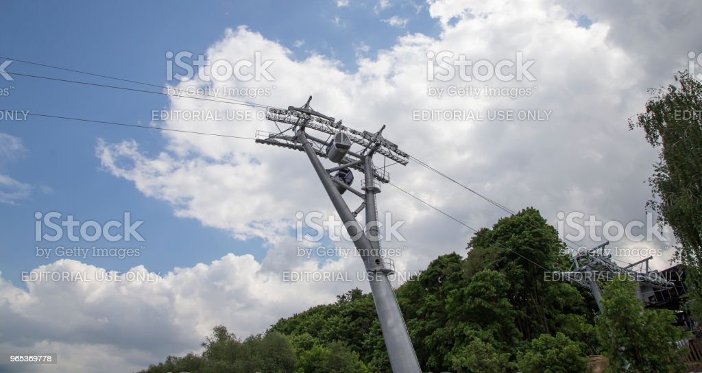 Cable car (ropeway, Cableway), passes over the Moskva River, connects observation deck on Vorobyovy Gory - Luzhniki stadium royalty-free stock photo