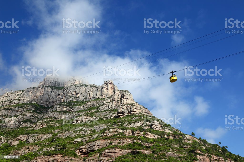 Cable car ride to the top of Montserrat royalty-free stock photo