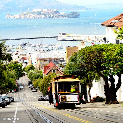 Cable Car on Russian Hill,North Beach,San Francisco.