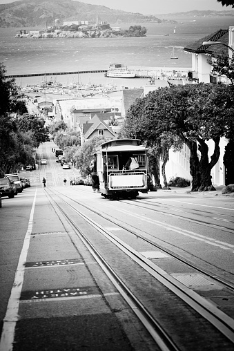 Cable Car on Russian Hill, North Beach, San Francisco. USA.