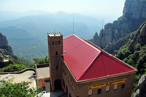 Cable car station and the valley - Montserrat, Catalonia, Spain
