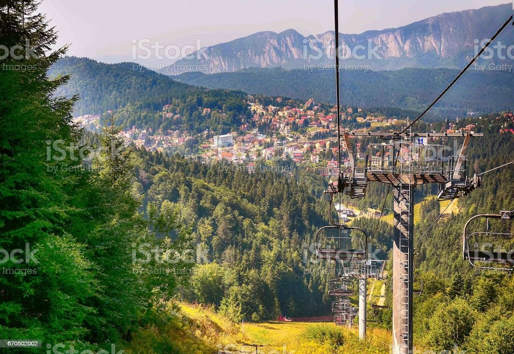 Cable car station stock photo