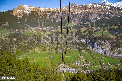 Cable car station rise up to mountain from Lauterbrunnen to gutschalp in Bern Switzerland