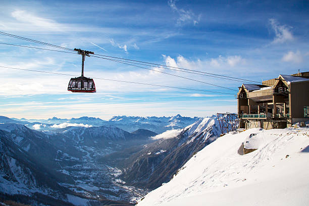 Cable Car Telepherique Aiguille du Midi stock photo