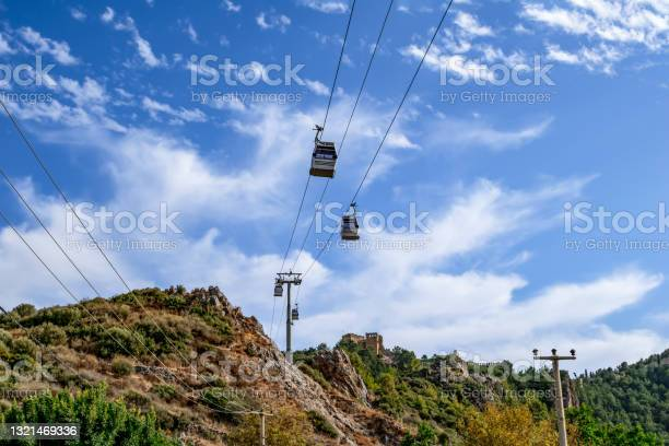 Photo of Cable car to Alanya Castle (Turkey) at the top of the mountain - bottom view