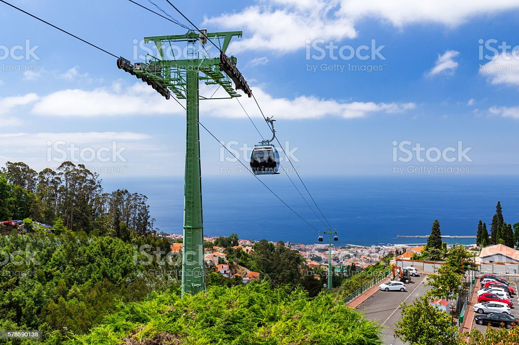 Cable car to Monte at Funchal, Madeira Island Portugal stock photo