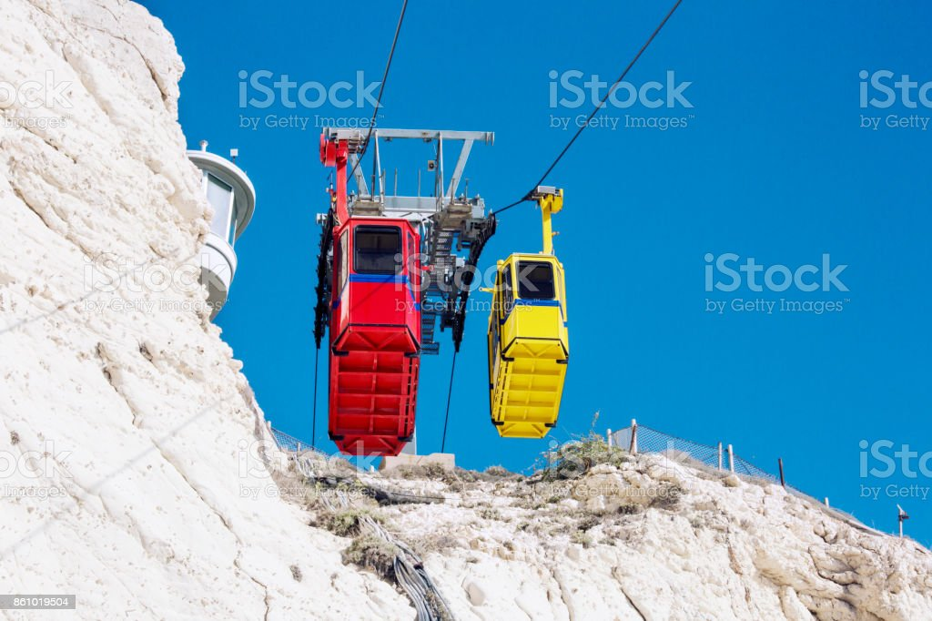 Cable car to Rosh HaNikra grotto in North Israel. stock photo