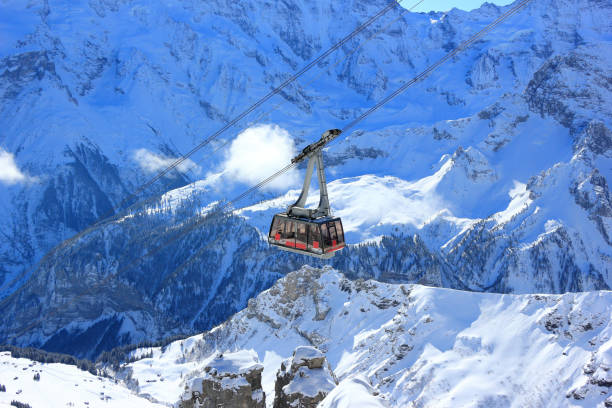 Cable car to the summit of the Schilthorn. Bernese Alps of Switzerland, Europe. stock photo