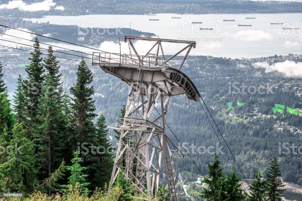 Cable car tower on top of the mountain